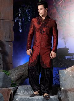 Wedding sherwani and Indian sherwani with good designs at LaRoyal shopping all over the world. We provide the all type of sherwani in your budget prices and with latest designs. Mens Sherwani, Wedding Sherwani, Sherwani Groom, Indian Men Fashion, India Fashion, Men's Fashion, Groom Fashion, High Fashion, Indian Man