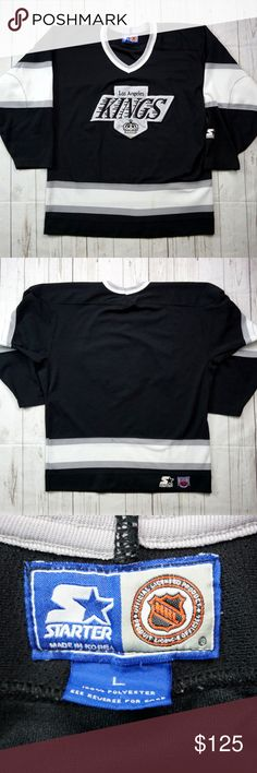 """VTG Starter Los Angeles Kings Hockey Jersey Large Vintage 90s Los Angeles Kings Hockey Jersey, Men's Large, Starter Jersey, 90s Fashion, Wayne Gretzky, Vintage Starter Jersey, NHL Hockey  Brand:     Starter Size:        Men's Large, L Color:      Black/White Material: 100% Polyester  Detailed Measurements: (Front Side of Garment has been measured laying flat on a table)  Sleeves:..............   28.5"""" inches  Chest:.................   23"""" inches Length:…..........     30"""" inches   Ships in…"""