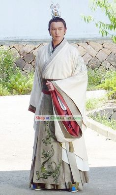 Ancient Chinese Han Dynasty Prince Dragon Robe Clothes Costumes Complete Set for… Chinese Man, Chinese Style, Traditional Chinese, Traditional Dresses, Chinese Men's Clothing, Costume Chinoise, Dynasty Clothing, Prince Dragon, Japanese Warrior
