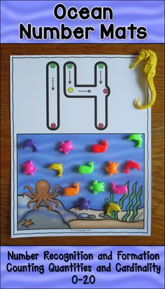 These easy to prepare full-color number mats, 0-20, with an ocean theme, are designed to develop skills in number recognition, number formation, counting quantities, and cardinality. They are perfect for use as either an intervention or resource activity or as an independent math center. The numbers have green, yellow, and red dots along with arrows to guide correct formation. $ PreK-K