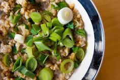 Mark Bittman's Savory Oatmeal with Scallions and Soy Sauce