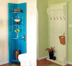 Puertas convertidas en estanteria o perchero • Doors transformed into racks