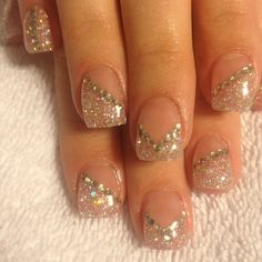 Sparkly French Manicure and Rhinestones