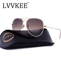 c72f895e8317 LVVKEE brand Glass Lenses Aviator Sunglasses Men Women 58mm Gradient G15  Mirror Sun glasses lunette de