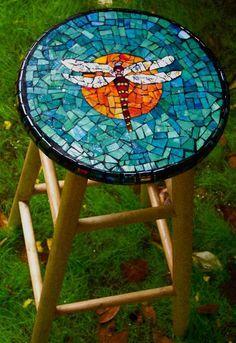 Dragonfly #mosaic #stool