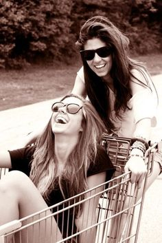 Friends steal shopping carts together. <3