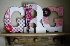 Custom Wooden Wedding Initial Monogram Letters by LolaMonkey,