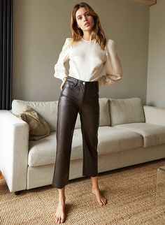 MELINA PANT - Vegan Leather pants Leather Pants Outfit, Faux Leather Pants, Ankle Length Pants, Best Leggings, Minimalist Fashion, Minimalist Style, Jacket Dress, Fashion Pants, Cropped Pants