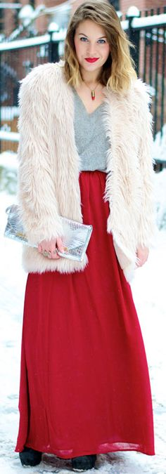 Red Maxi Skirt Outfit for Winter