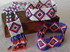 Tribal Beaded Necklace and Bracelets set from the Mangyan Tribe of Mindoro - Blue, Orange, White beads