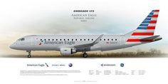 Embraer 175 American Eagle  opb Republic Airline N426YX | Highly Detailed Profile Prints | www.aviaposter.com | #airliners #aviation #jetliner #airplane #pilot #aviationlovers #avgeek #jet #sideplane #airport #e-jets #embraer #erj175