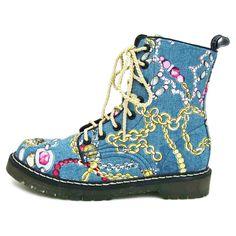 Chain Denim Boots Womens Blue