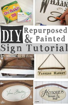 Want to create hand painted repurposed signs out of old barn wood or on-hand materials? This DIY painted sign tutorial will show you how step-by-step Diy Vintage, Vintage Signs, Vintage Wood, Cool Diy, Easy Diy, Dyi, Creative Crafts, Diy Crafts, Mason Jars