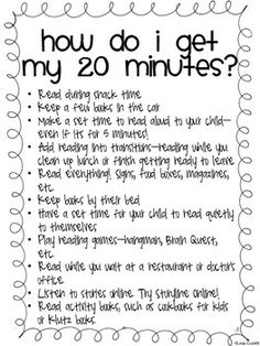 Do your parents complain that they don't have enough time to read with their child? Here is a list of easy ways for them to find time to read! Use it as a handout at your Back to School night, or as a mid-year reminder! Your feedback is greatly appreciated!