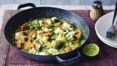 A creamy fish curry with just enough spice, power it up with sweet potato and spinach to get you on your way to five a day curry detox soup Gluten Free Chilli, Coconut Fish, Cooking Recipes, Healthy Recipes, Bbc Recipes, Healthy Meals, Healthy Eating, Indian Food Recipes, Ethnic Recipes