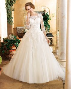 Generous A-line Scoop Beading Buttons Lace Sweep/Brush Train Tulle Wedding Dresses _1