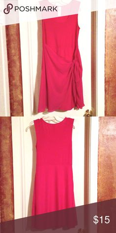 💗 Super Cute Fuchsia Dress 💗 Next to new ! This versatile tank dress can be worn to casual or dressy events. Easily worn with flats or heels. Side drape is stylish and covers tummy. This dress has a built in fitted skirt underneath to help keep lines smooth. Dresses