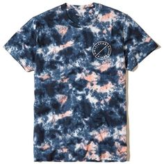 Hollister Tie-Dye Graphic Tee ($20) ❤ liked on Polyvore featuring men's fashion, men's clothing, men's shirts, men's t-shirts, navy tie dye, mens print shirts, old navy mens shirts, mens navy blue t shirt, mens tie dye t shirts and j crew mens shirts