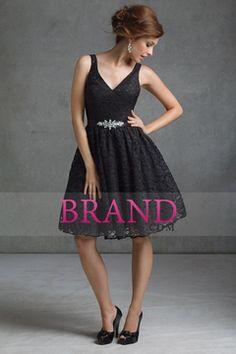 2015 V-Neck A Line Knee Length Lace Bridesmaid Dresses With Beads USD 114.99 BPPLGZPZGD - BrandPromDresses.com