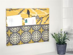 Fabric Mail Organizer. School papers, Letter & Bills Sorter. Hanging Pockets. Yellow & Grey. canvas frame