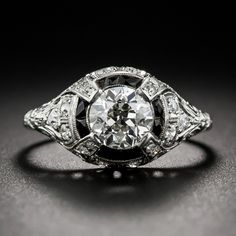 1.00 Carat Platinum Diamond and Onyx Art Deco Engagement Ring by H. Morton Co.