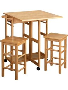 Winsome Wood Table Drop Leaf Square Stool, Natural ❤ Winsome Wood
