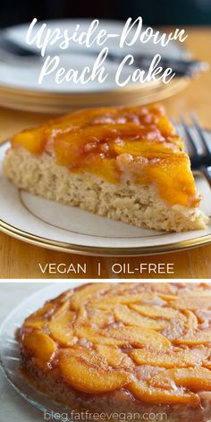 Peach Upside-Down Cake: You won't believe this delicious cake is oil-free and vegan! Luscious fresh peaches top fluffy vanilla cake in this summertime dessert. Peach Upside Down Cake, Fat Free Vegan, Peach Cake, Vegan Pie, Vegan Kitchen, Vegan Dessert Recipes, Yummy Cakes, Vegan Treats, Vegan Baking