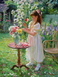 A beautiful study of a young girl arranging flowers painted by the Russian artist Alexander Averin. Paintings I Love, Beautiful Paintings, Art Paintings, Vladimir Volegov, Girls With Flowers, Beautiful Children, Love Art, Vintage Art, Amazing Art