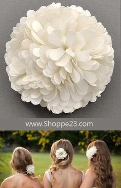 """Ivory Fabric Flower Pin or Clip 2 1/2"""" Diameter Bridal  Bridesmaid Pin or Hair Jewelry Boxed  $18.00 Free USA Shipping"""