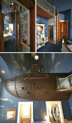 Only the coolest bedroom for a little boy EVER! There is even a slide that goes from the pirate ship to the first floor of their house! This guy is a genius!