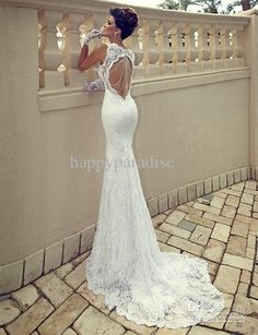 New Arrival Mermaid Wedding Dresses Spaghetti Court Train Sweetheart White Ivoy Lace Backless Bridal Gowns Wedding Gowns HP0487WM