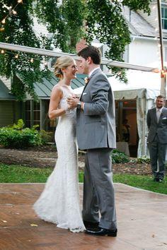 Lace Wedding Gown, Lace Wedding Dress, Grey Tuxedo, Outdoor Wedding Reception, First Dance www.leahdanielsphotography.com Scranton Wedding Photographer