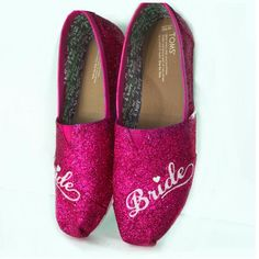 $10 OFF with code: PINNED10 Women's classic slip on Glitter Toms Hot pink magenta Wedding Bride Shoes