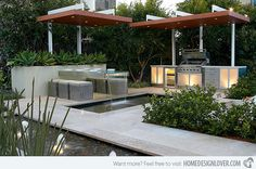 Check this beautiful modern garden! Aside from the waters on the flooring, the glass table also has water coming from it. No wonder this design from Rolling Stone Landscapes is award winning.