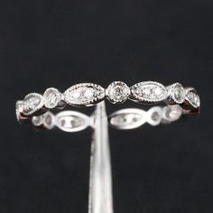 Art Deco Ring Antique Style .32ct Diamond Milgrain Wedding Band - 14K White Gold Yellow Gold/Rose Gold Available $209