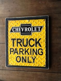 Chevy Truck Parking Only Sign Chevrolet Metal Sign by WOODruSAYIN, $30.00