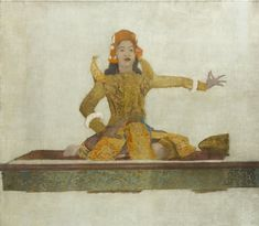 "Twentieth Century British Art by Sir Gerald Festus Kelly: ""Neac Thul V, Cambodian Dancer, circa The Twenties, Oil On Canvas, Oriental, Disney Characters, Fictional Characters, Dancer, Fine Art, Disney Princess, British"