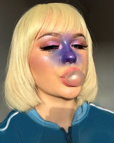 Ellie Addis Violet Beauregarde halloween makeup costume halloween costume 27 Last-Minute Halloween Costumes You Can Do With Just Makeup Most Popular Halloween Costumes, Trendy Halloween, Last Minute Halloween Costumes, Couple Halloween, Halloween Outfits, Scary Halloween, Women Halloween, Willy Wonka Halloween Costume, Halloween Inspo