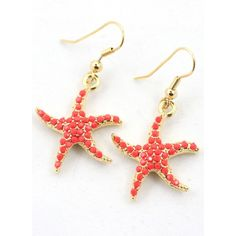 Starfish Drop Coral Earrings