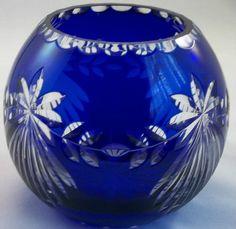 Bohemian Cobalt Blue Crystal Cut to Clear Etched Rose Bowl Vase Candle Holder