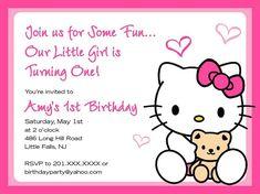 Hello Kitty Birthday Invitation Digital File By