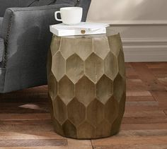 """Pottery Barn - Vince Metal-Clad Accent Stool. 14"""" diam x 18.5"""" h Crafted with a hardwood frame. Hand-applied antiqued-brass foil exterior."""