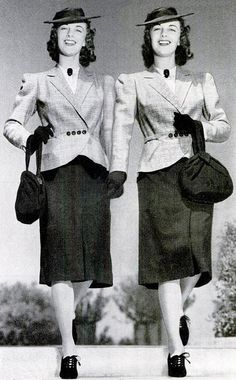 Two identically (stylishly) dressed twins in an ad for Selby Shoes, 1940.