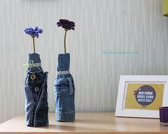 Alte Jeans goes Blumenvase