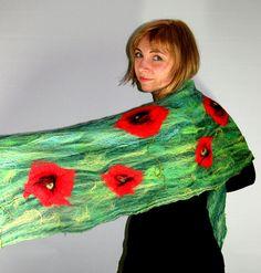 Felted SCARF, COBWEB, POPPIES, Delicate Fancy scarf, Felted Cobweb, Multicolour, Art scarf, Nunofelt, Green Scarf, Poppy