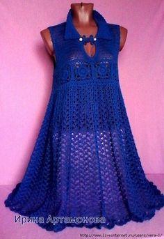 Crochet feminine and beautiful blue dress. Free patterns for crochet dress Crochet Summer Dresses, Black Crochet Dress, Crochet Skirts, Crochet Tunic, Crochet Clothes, Knit Dress, Special Dresses, Nice Dresses, Diy Crafts Dress