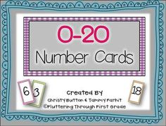 Number Card printables come in 7 different patterned colors for endless use during whole group, centers activities and independent math time. -Print or copy onto heavyweight paper, such as construction paper or card stock and keep each color in a separate container.