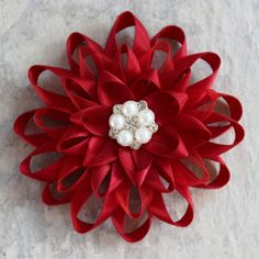 Red Flower Pin, Sweater Pin, Coat Pin, Gift for Women, Gift for Teacher, Red Dress Pin, Scarlet Red Flower Corsage, Dark Red Flower Brooch