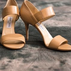 """HOST PiCK Jimmy Choo Tesoro Leather Sandal Worn once.  Can't even tell.  Alana leather double band sandal. Nude. 3.5"""" covered heel  amazing elastic leather strap Jimmy Choo Shoes"""