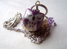 Purple Owl Necklace  Owl Jewelry  Owls Charms by stonehorsedesigns - I must have!